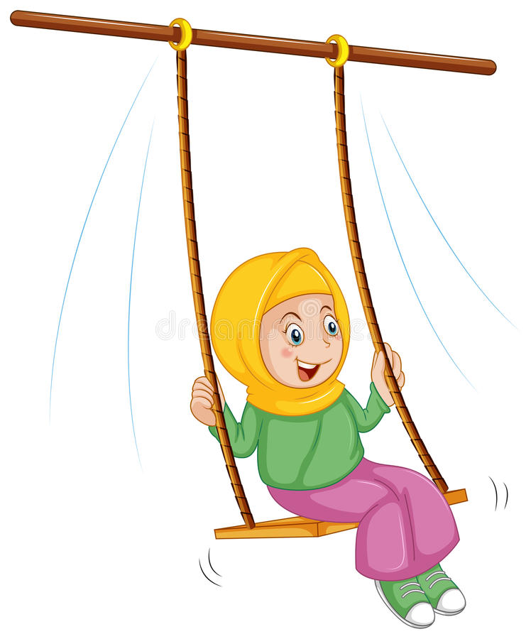 A girl at the swing royalty free illustration