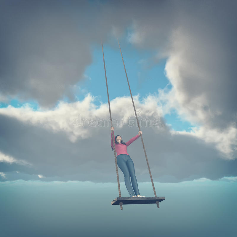A girl on a swing. vector illustration