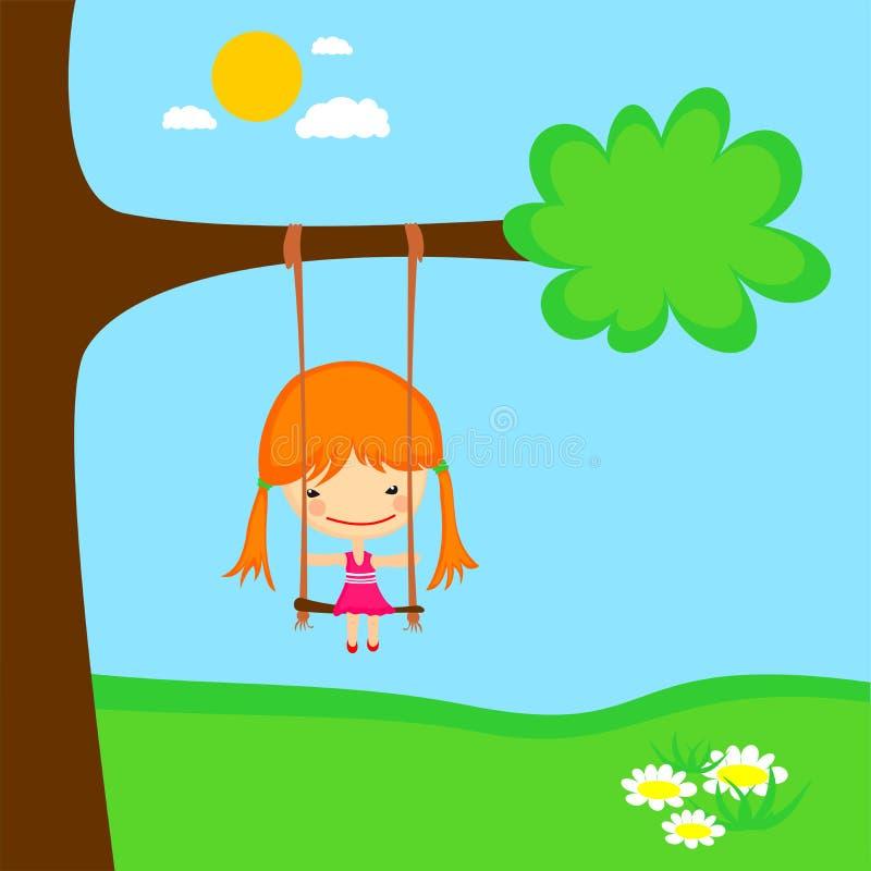 Download Girl swinging stock vector. Image of cheerful, garden - 11723142