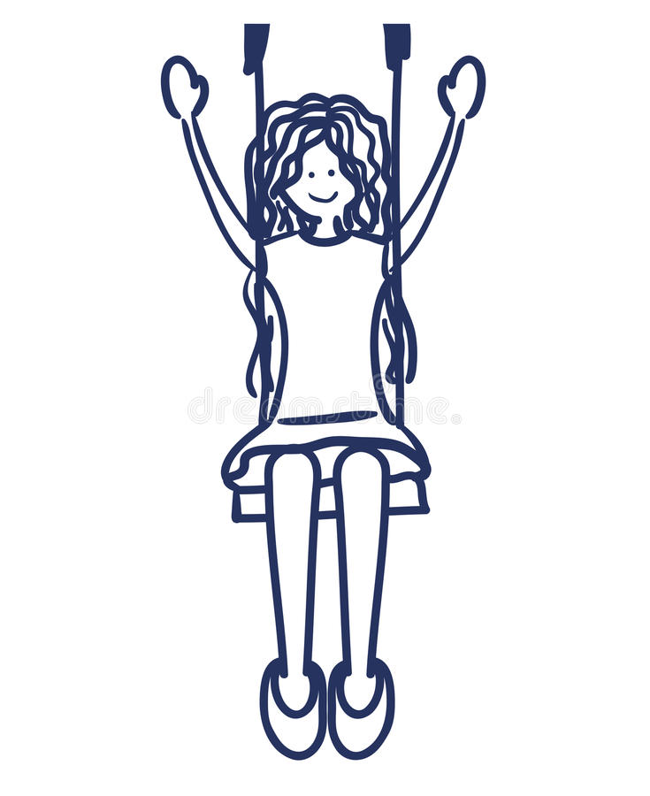 Girl swinging drawing isolated icon vector illustration