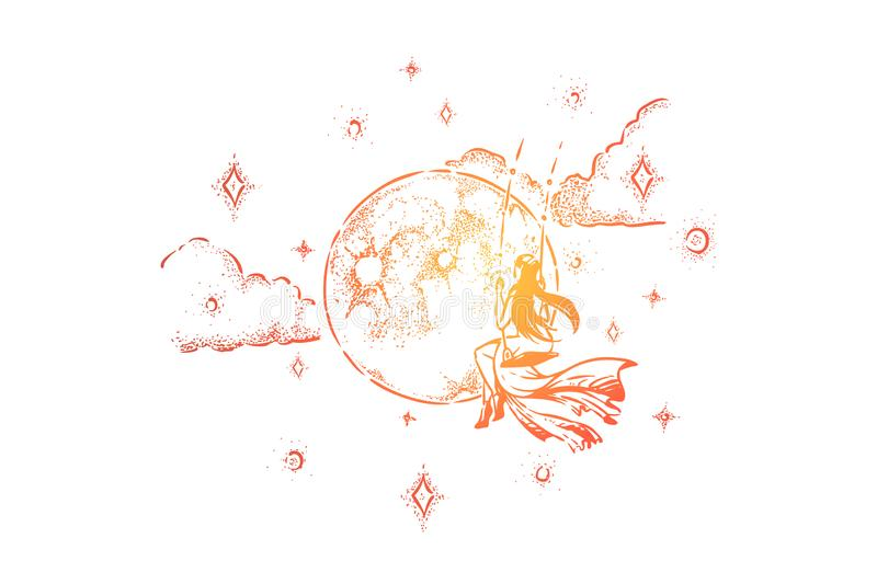 Girl swinging in night sky, dreaming person, mindfulness, loneliness and freedom metaphor. Woman among clouds, moon and stars, fairytale character sketch vector illustration