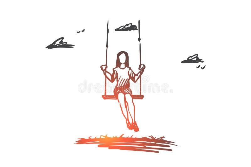 Girl, swinging, playing, fun, activity concept. Hand drawn isolated vector. Girl, swinging, playing, fun, activity concept. Hand drawn girl swing and relax vector illustration