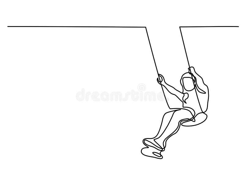 Girl swinging on swing stock illustration