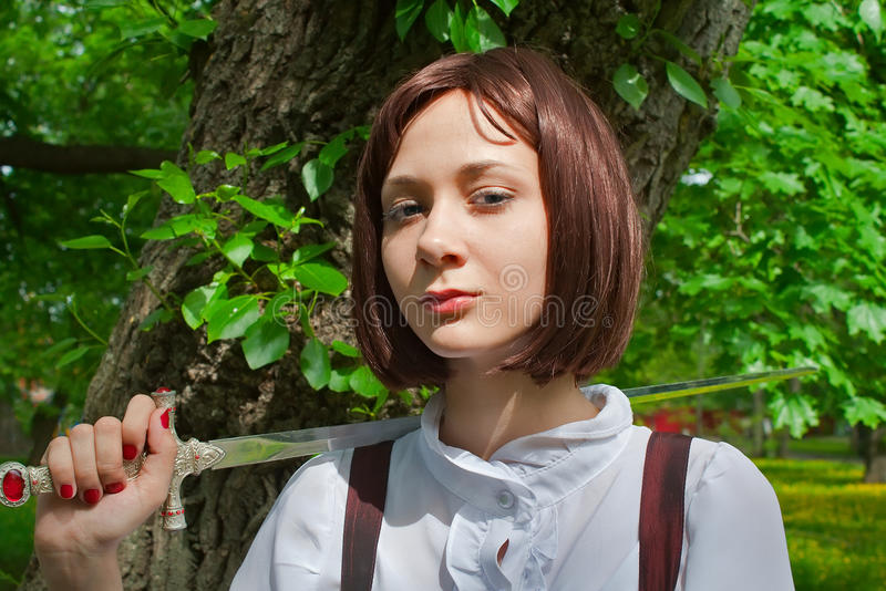 Girl with sword 1 royalty free stock images