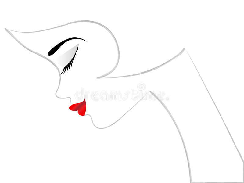 Girl symbol. Beautiful girl symbol with red lips stock illustration