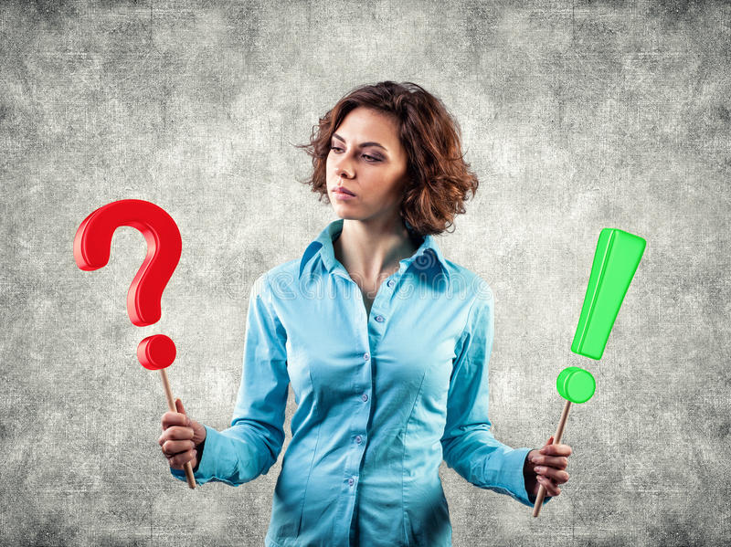 Download Girl with symbols stock image. Image of answer, green - 28849651