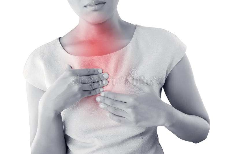 Girl with symptomatic acid reflux. royalty free stock photos