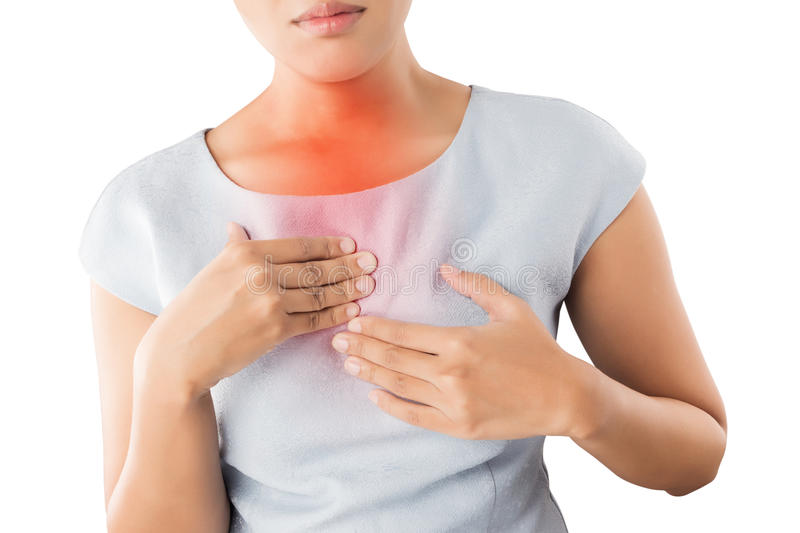 Girl with symptomatic acid reflux. royalty free stock images
