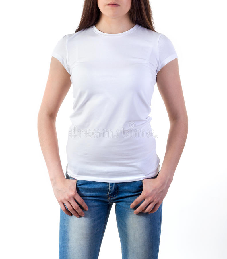 Girl in t shirt mock up stock photo image of fake design for Woman t shirt mockup