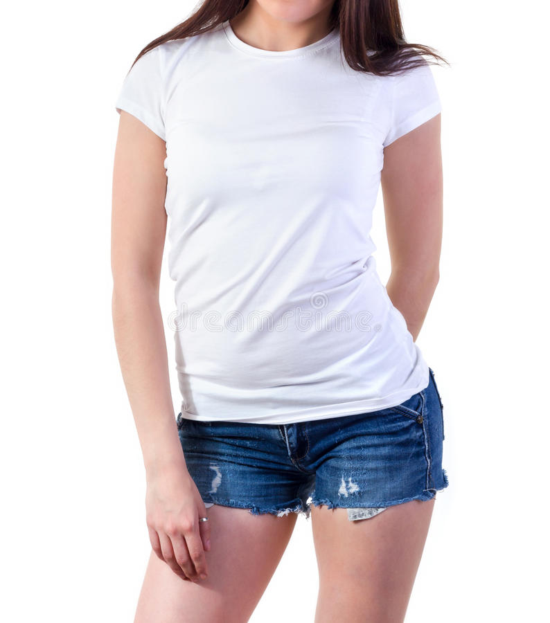 Girl in t shirt mock up stock photo image 56106391 for White t shirt mockup