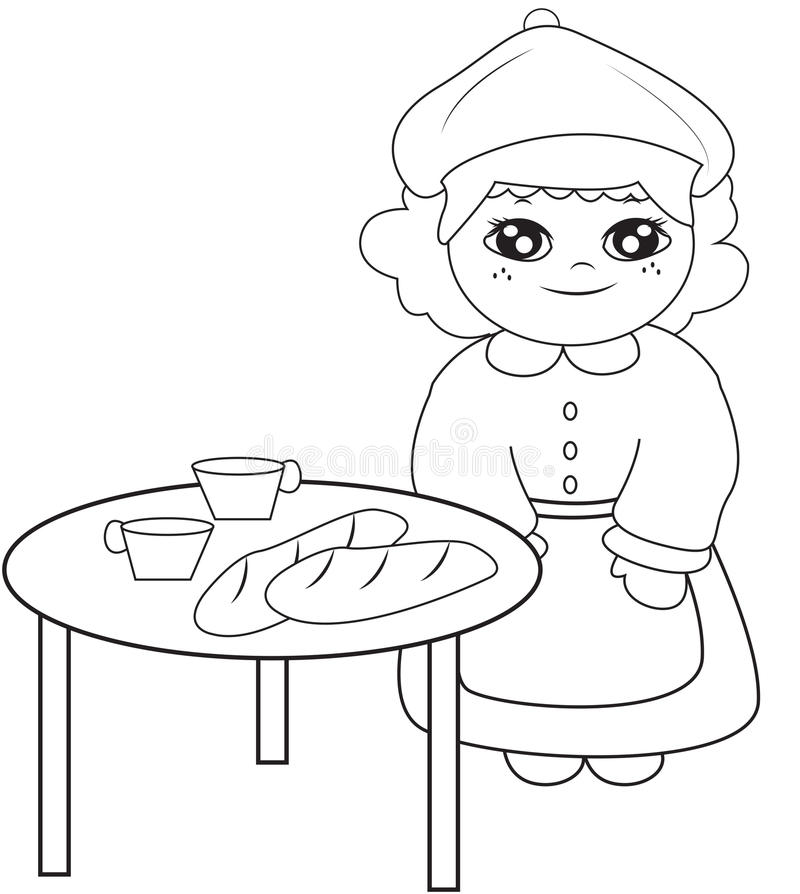 Girl Beside The Table Coloring Page Stock Illustration ...