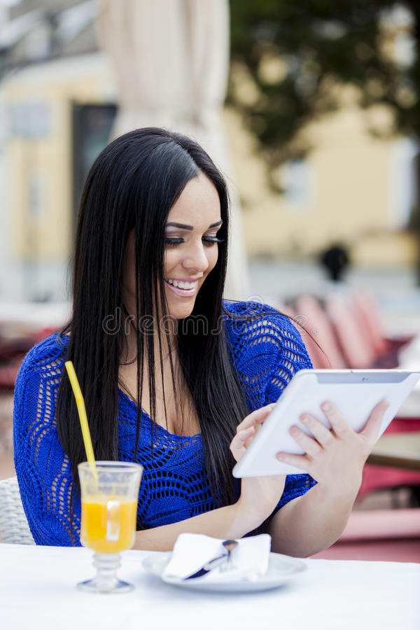 Download Girl with tablet stock photo. Image of electronic, business - 26830240