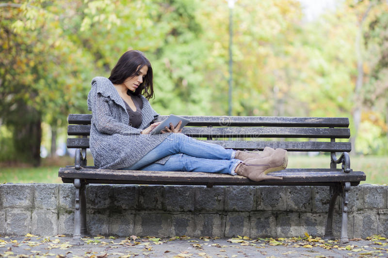 Download Girl with tablet stock image. Image of girl, hands, student - 27872035