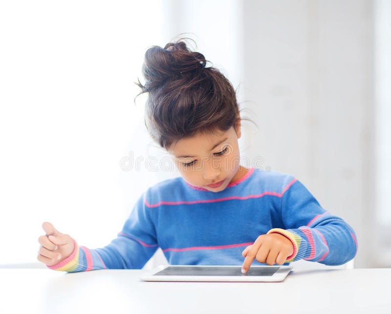 Download Girl With Tablet Pc At Home Stock Image - Image: 34396985