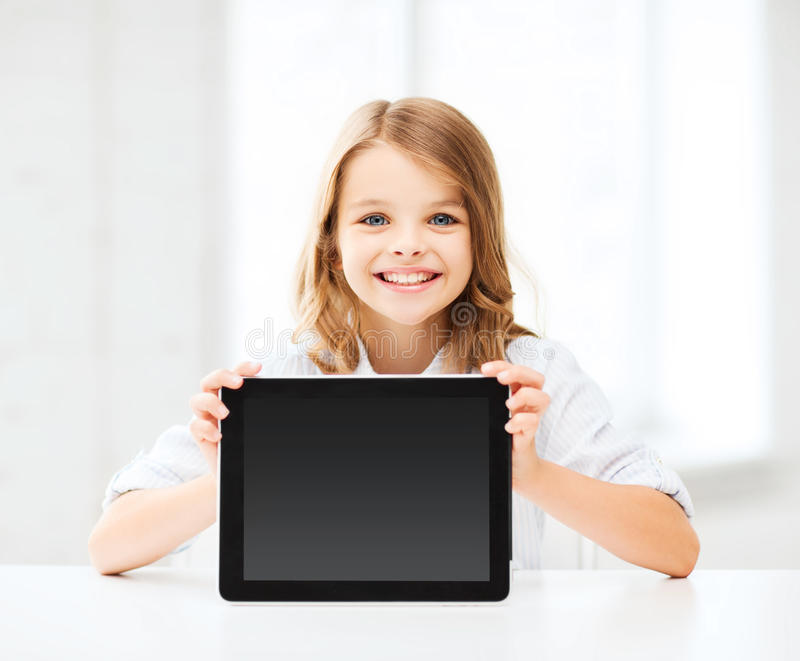 Girl with tablet pc at school royalty free stock images