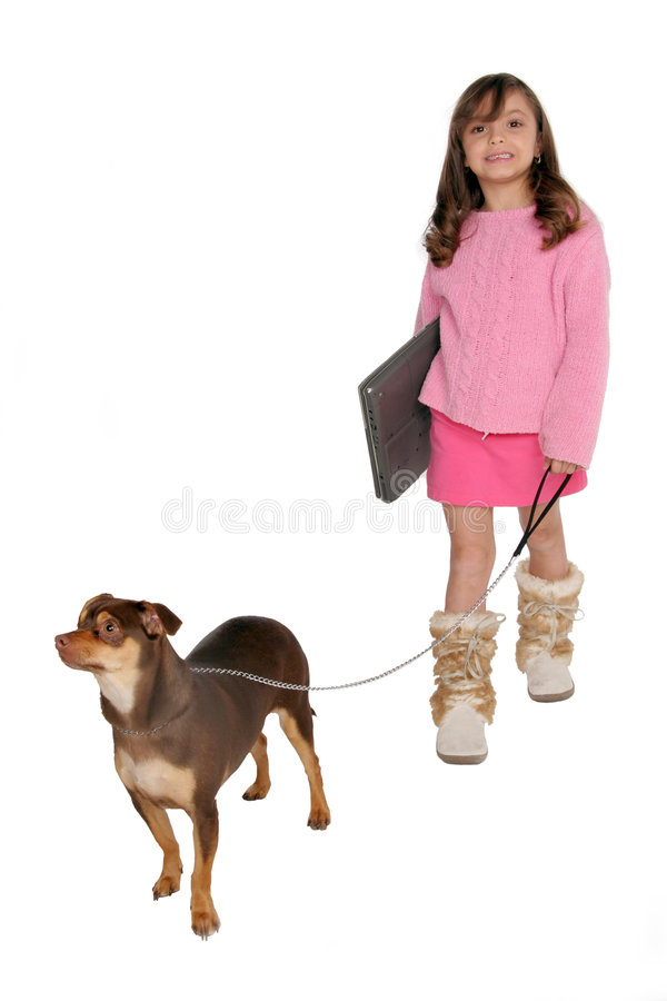 Girl Take S Dog For A Walk Carrying Her Laptop Stock Photo