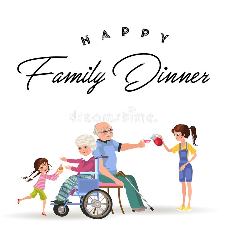 Girl takes care of grandmother and grandfather vector illustration