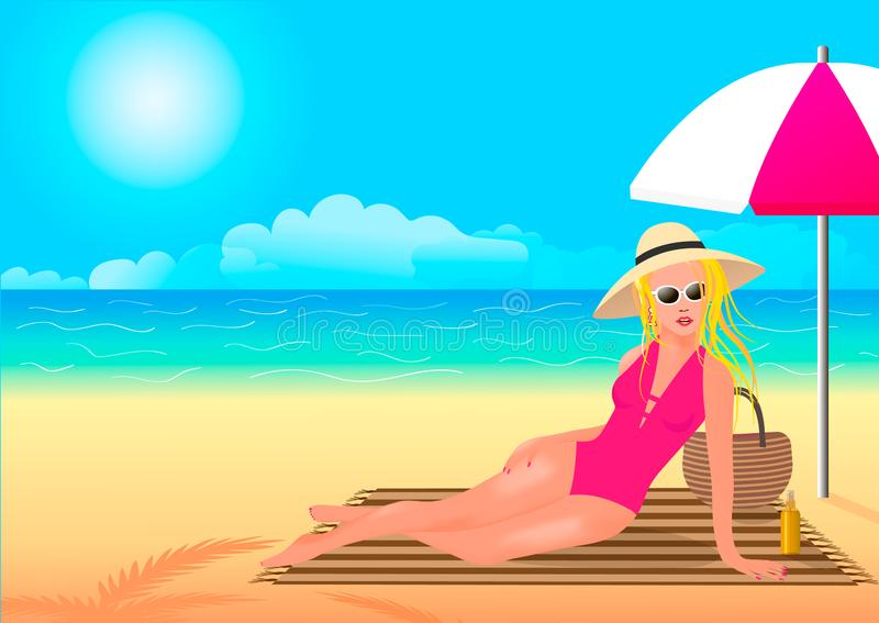 The girl takes care of her skin and hides under an umbrella stock illustration