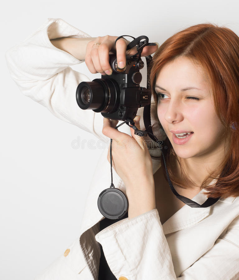 Download Girl takes a photo stock image. Image of photos, lens - 31229099