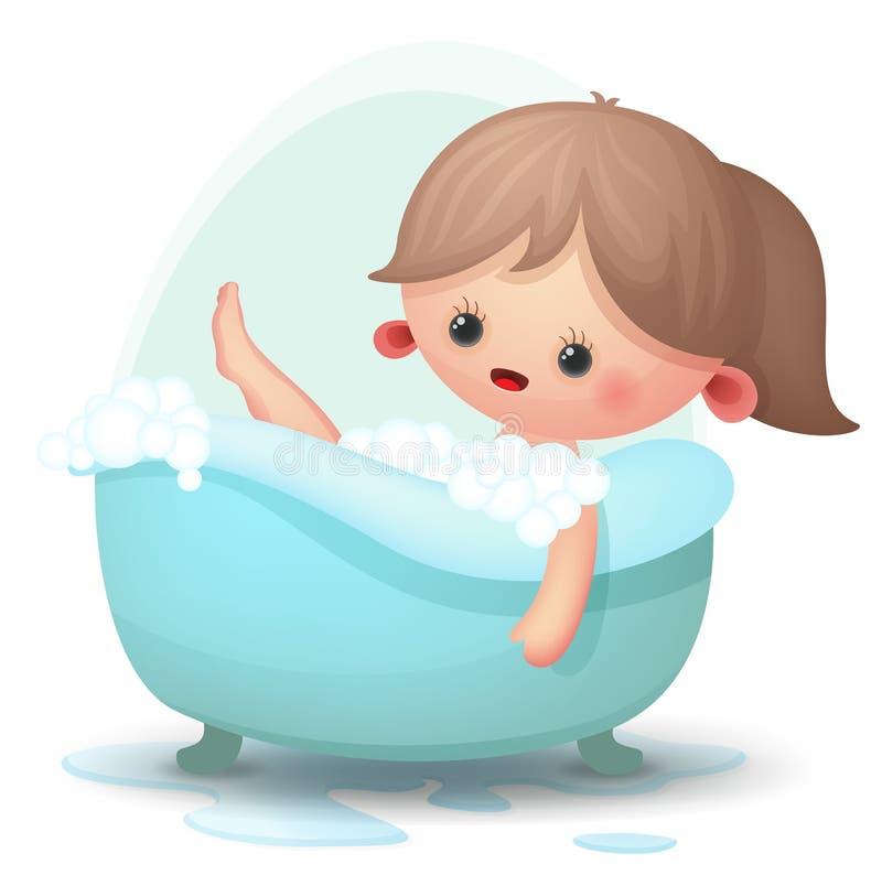Girl taking a bath. Cute girl taking a bubble bath vector illustration
