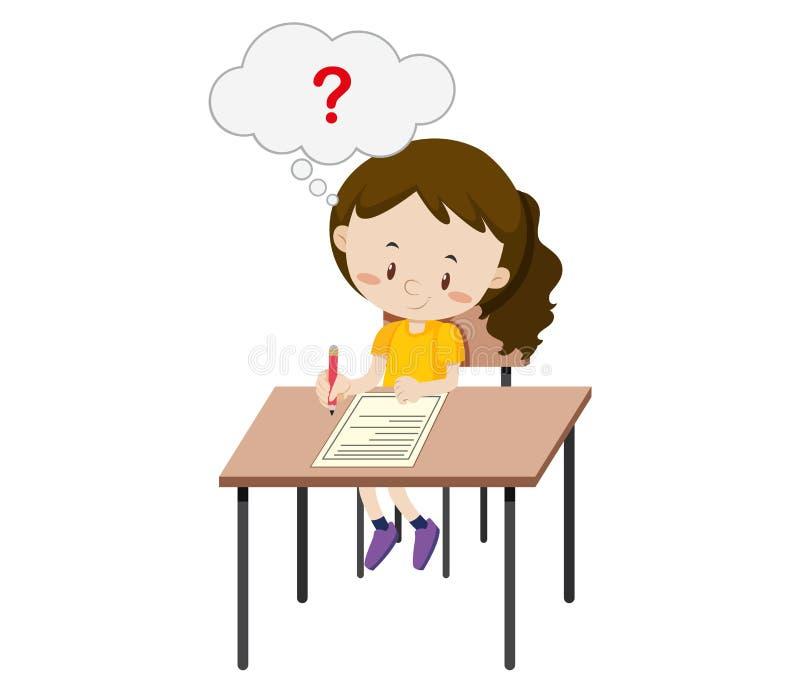 A girl taking the exam. Illustration stock illustration