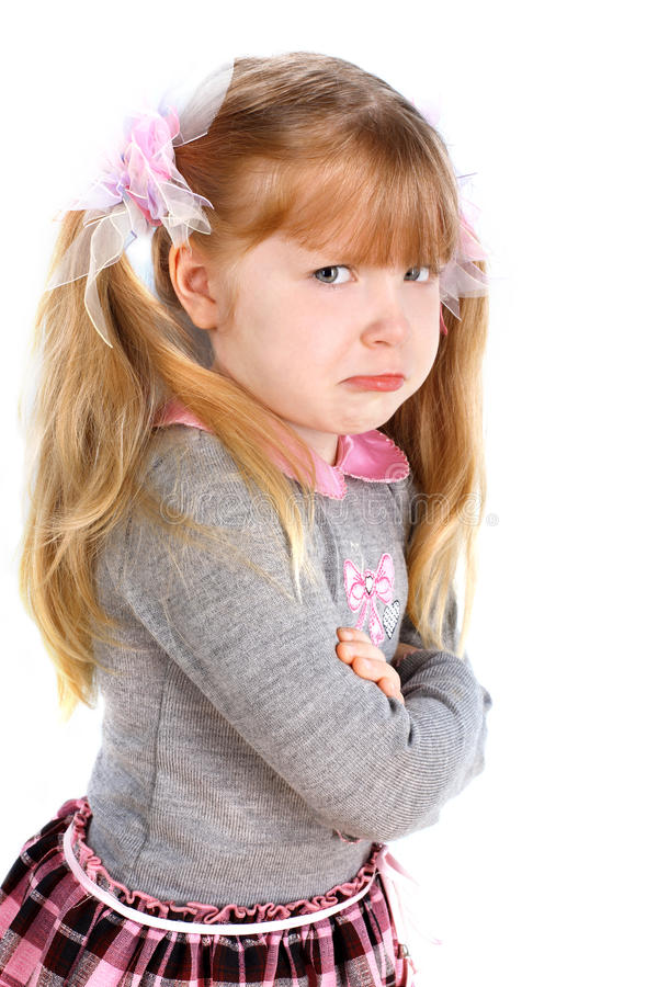 Girl taking great offence royalty free stock images