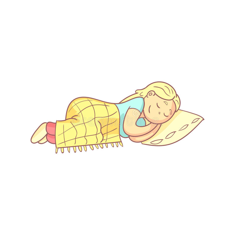 Girl Taking A Nap In Bed. Flat Outlined Pale Color Funny Hand Drawn Vector Illustration On White Background royalty free illustration