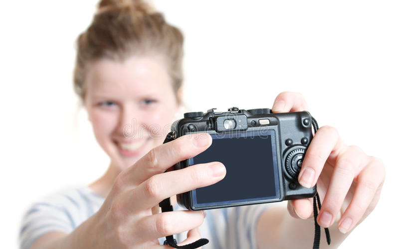 Girl taking photo of herself royalty free stock photo
