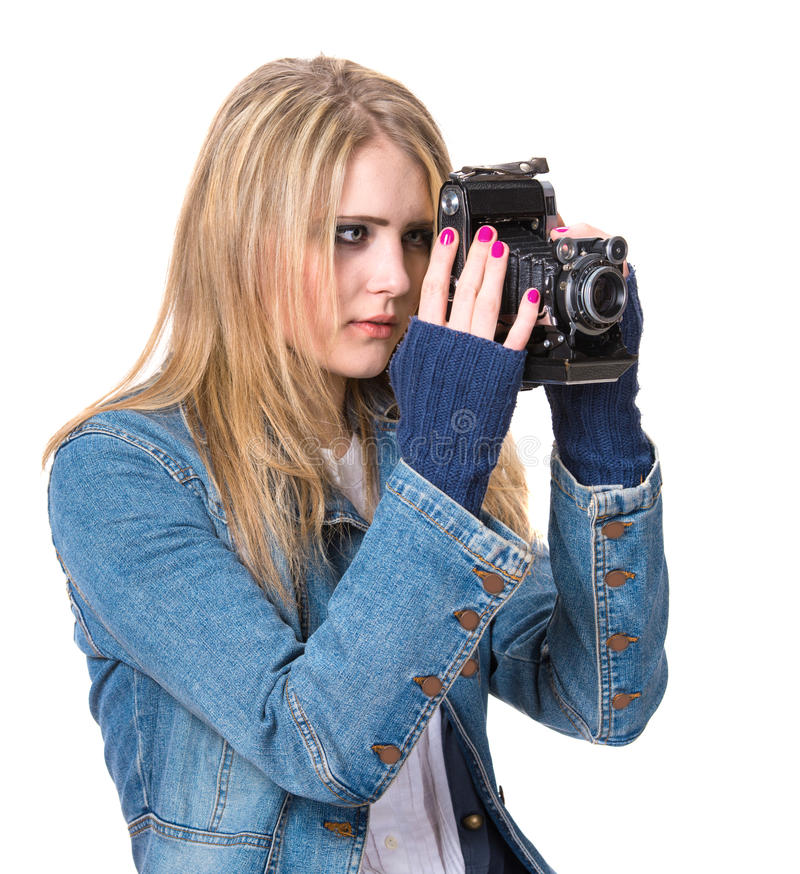 Girl Taking Picture With Vintage Film Camera Royalty Free Stock Photo