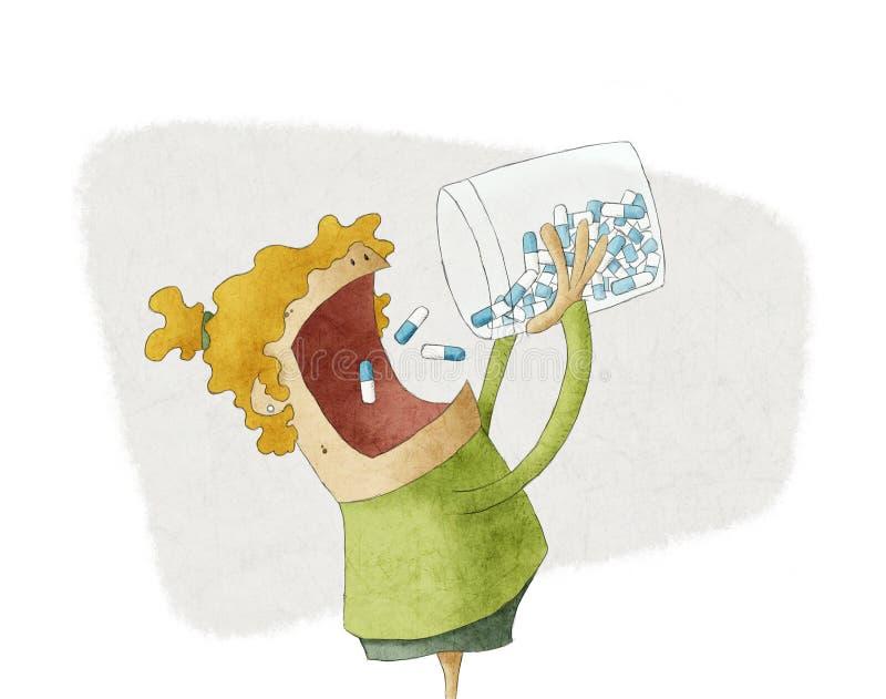 Girl taking a pile of pills vector illustration