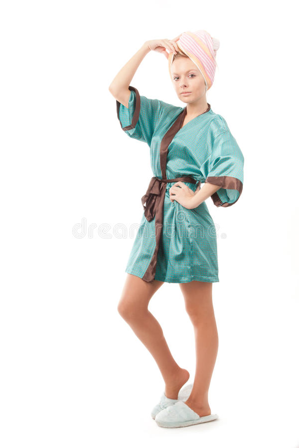Girl after taking the shower royalty free stock image