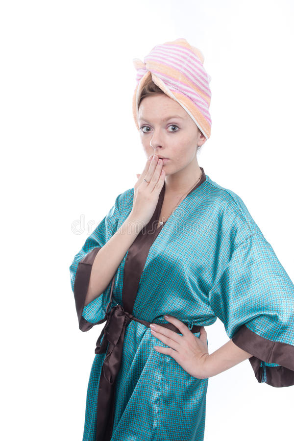 Girl after taking the shower stock photography