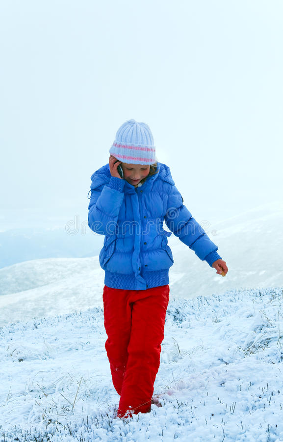 Download Girl Talk By Cellphone On Mountain Winter Plateau Stock Image - Image of environmant, beautiful: 22297633