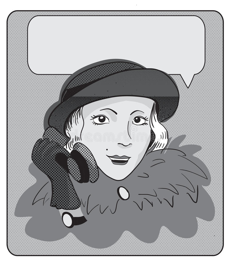 Girl talking on the phone. Illustration in retro style of the comic stock illustration