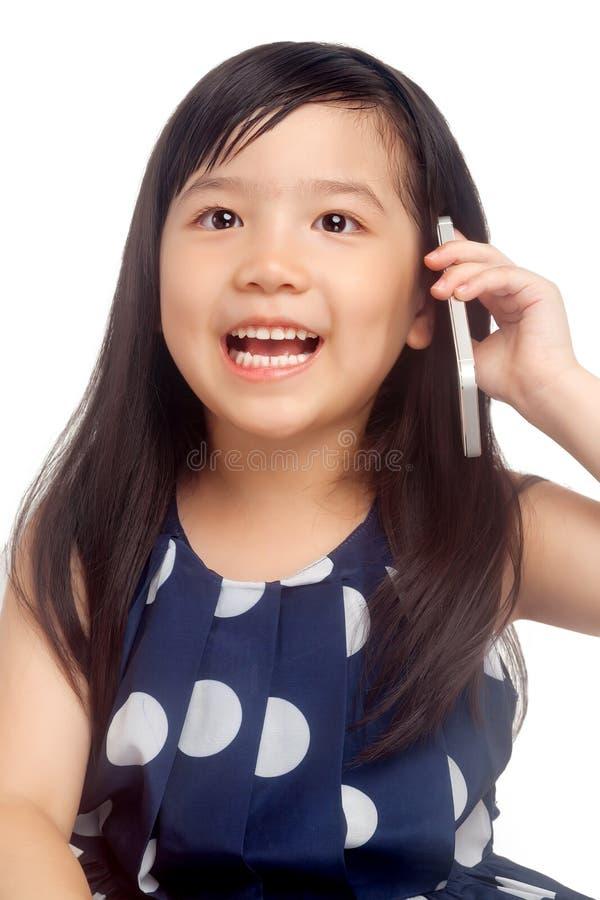 Girl talking on phone stock image