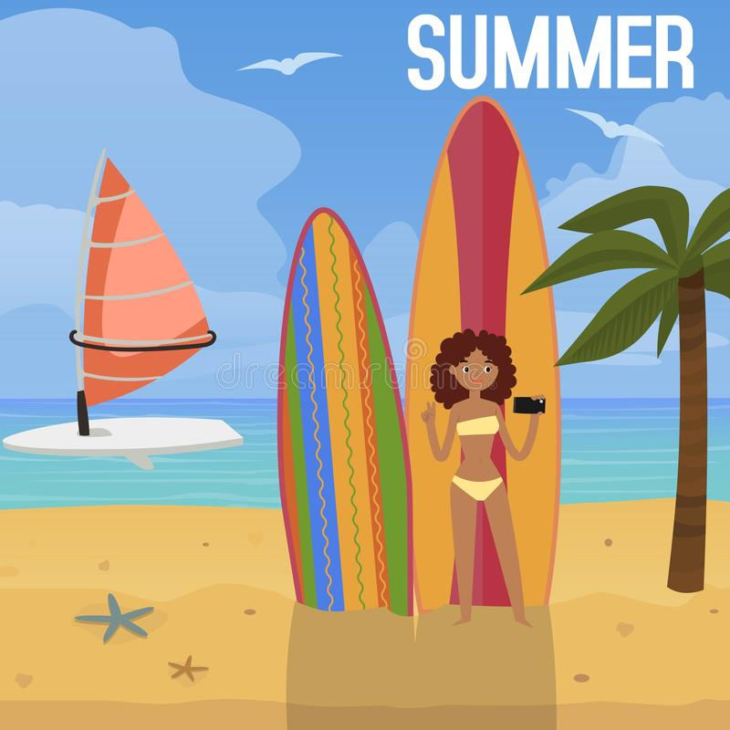 Beach Tropical Vacation Kid Blond Girl With Fashion: Swimsuit Woman Models Design Collection Vector