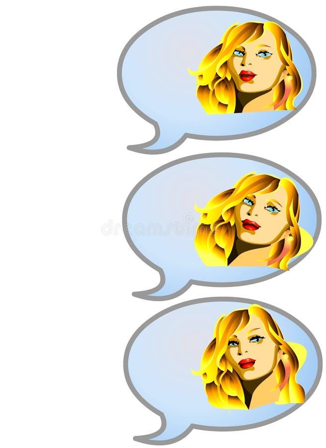 Download GIRL TALKING SEQUENCE stock illustration. Image of desk - 720623