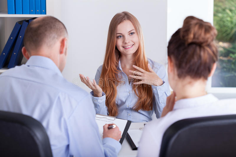 Girl talks about her experience. For an job interview royalty free stock photo