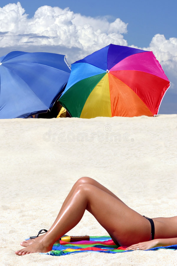 Download A Girl Tanning On The Beach Stock Photo - Image: 2352736