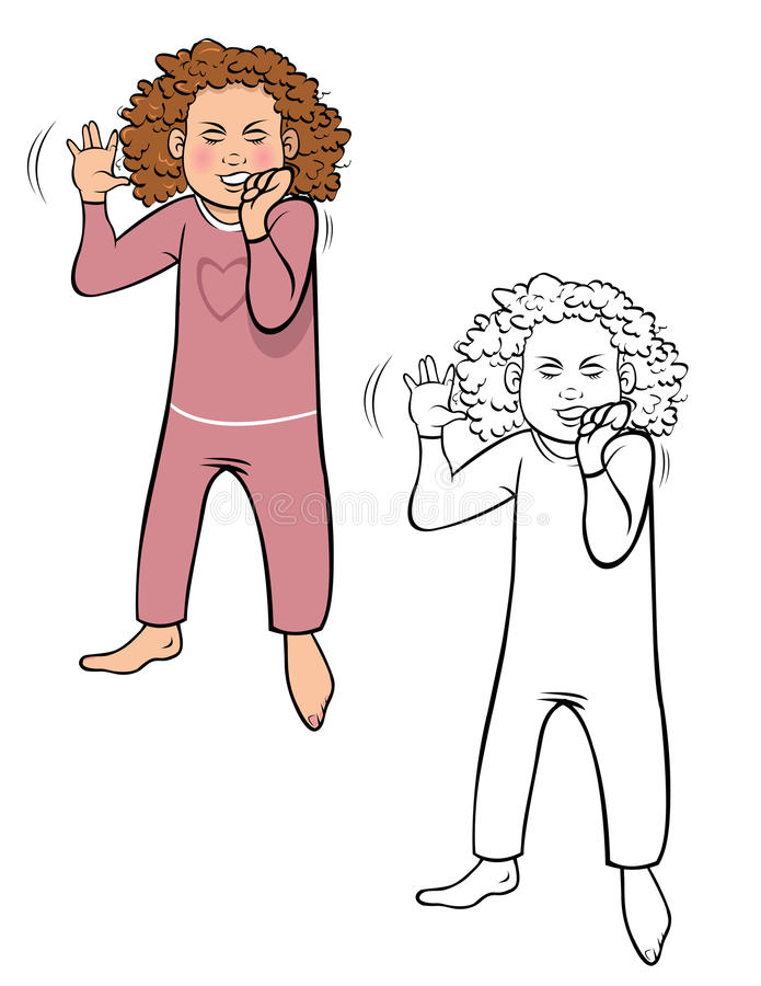 Girl tantrum coloring book royalty free illustration