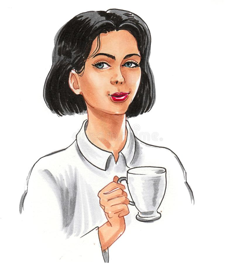Girl and tea vector illustration