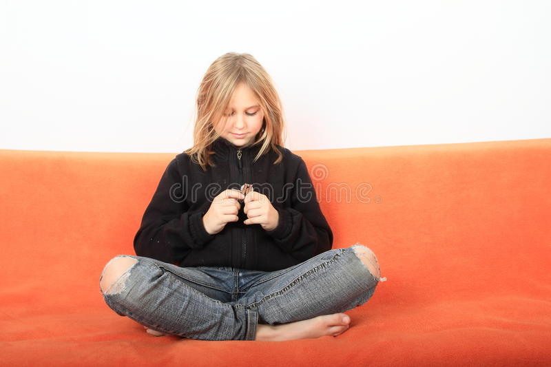 Girl with teaser royalty free stock photo