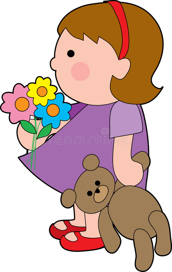 Girl with teddy. Little girl with a teddy bear stock illustration