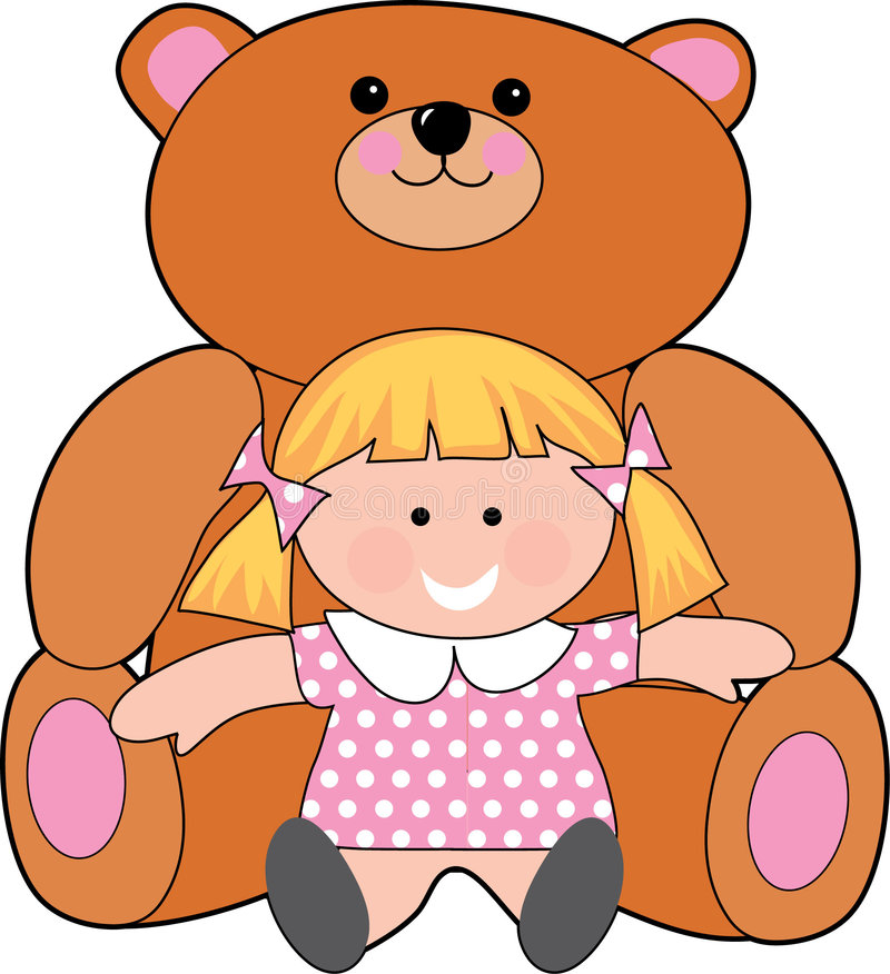 Girl with teddy. Little girl with a giant teddy bear vector illustration