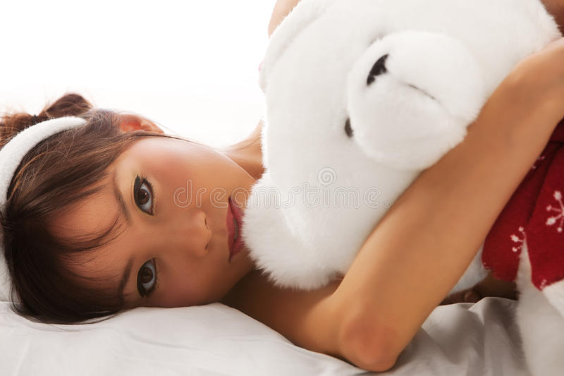 Download Girl and teddy stock image. Image of pretty, portrait - 15600645