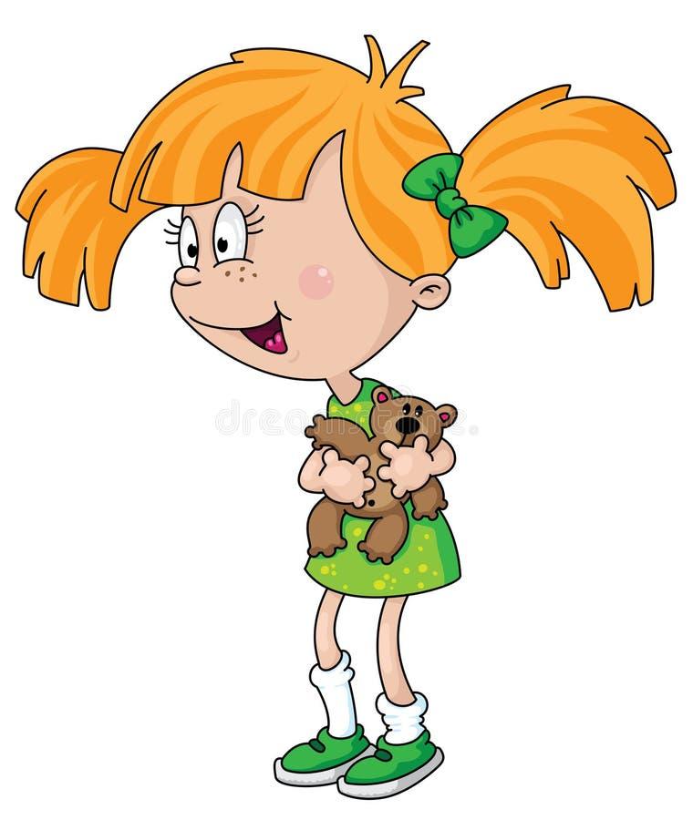 Girl with teddy bear vector illustration