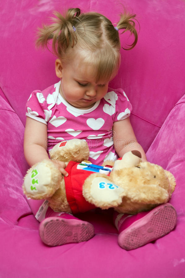 Download Girl with teddy bear stock image. Image of little, teddy - 20448867