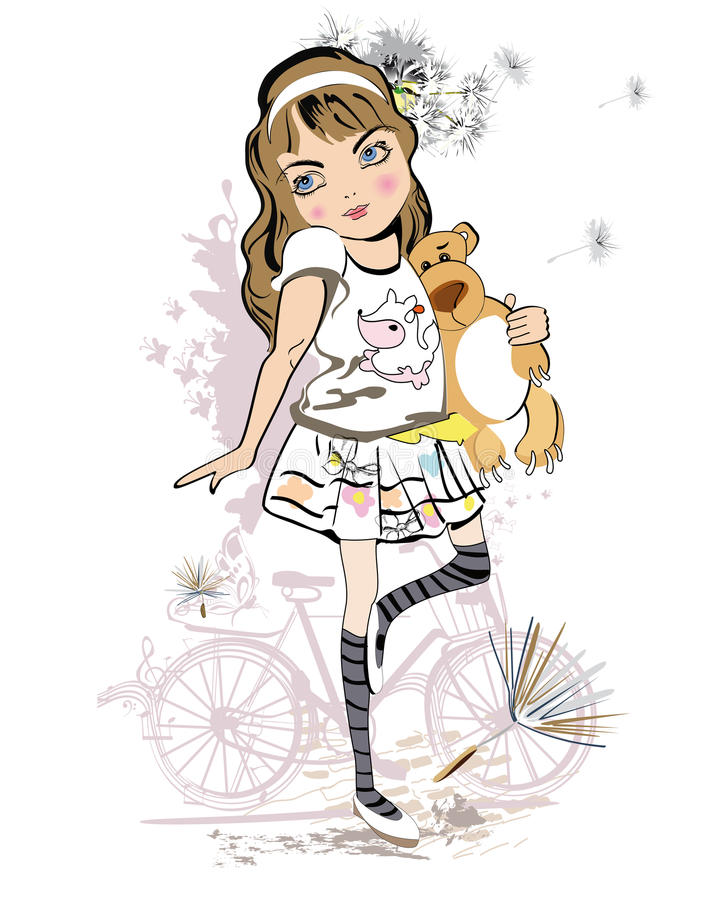 Girl with a Teddy Bear. stock illustration