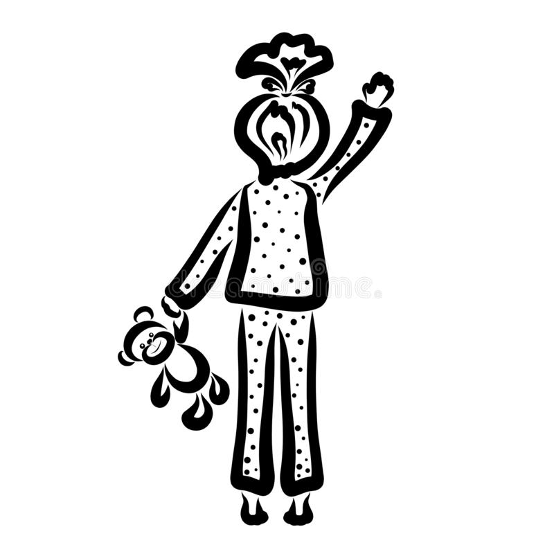 Girl with a teddy bear in hand waving hand royalty free illustration