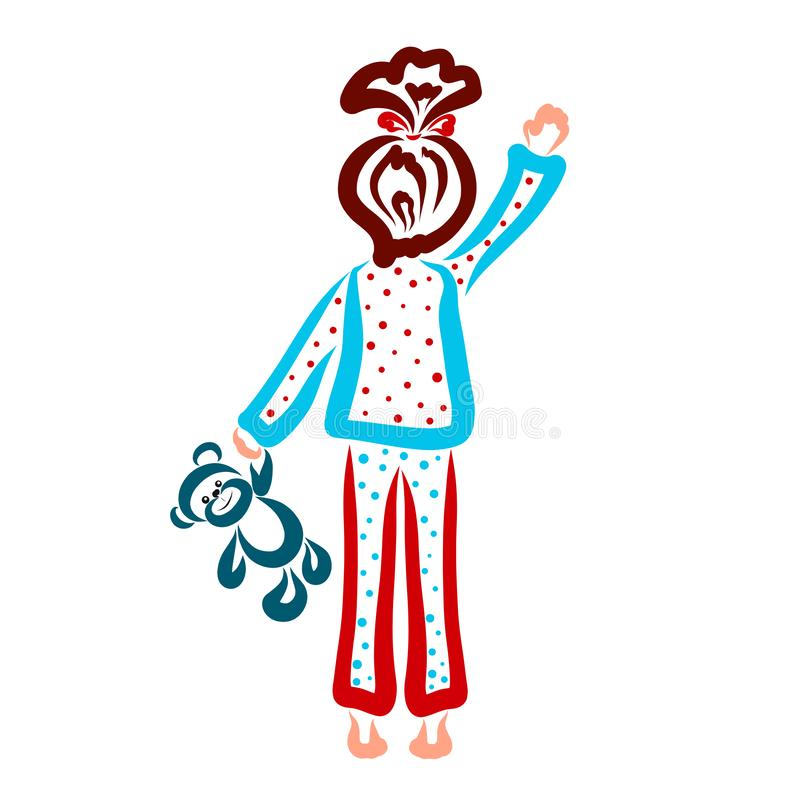 Girl with a teddy bear in hand, waving goodbye vector illustration